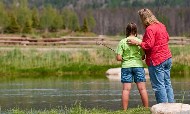 Mother and Daughter Fishing in Steamboat Springs