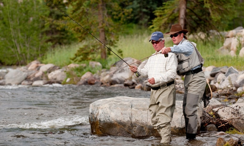 Fly Fishing Guide with client at Vista Verde Ranch